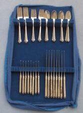 48 Pcs, Complete Set for 8 Oneida Heirloom Damask Rose Sterling Silver Flatware