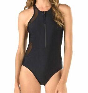 $294 Speedo Womens Black High-Neck Zip-Front Racerback One-Piece Swimsuit Size S