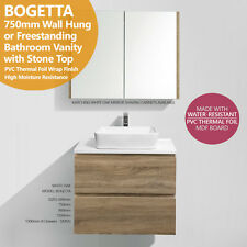 BOGETTA | 750mm White Oak PVC THERMAL FOIL Timber Wood Grain Vanity w Stone Top