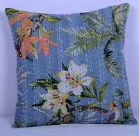 """16"""" INDIAN GREY FLORAL CUSHION PILLOW COVERS KANTHA THROW Ethnic Decorative"""