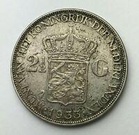 Dated : 1933 - Silver Coin - Netherlands - 2 1/2 Gulden - Wilhelmina I