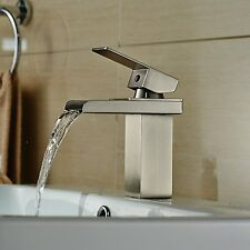 Bathroom Faucet Waterfall Brushed Nickel One Hole Single Handle Mixer Taps