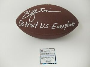 Billy Sims Detroit Vs Everybody Inscription Lions Autographed Signed Football SS