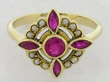 C458 Genuine 9ct Rose Gold NATURAL Ruby & Pearl Ring Windmill Star size O