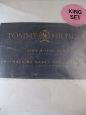 NEW TOMMY HILFIGER 100% COTTON SATEEN SOLID KING SHEET SET SAGE GREEN 4 PC $100+