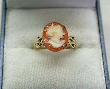 Vintage Pretty 9ct Gold Carved Cameo Ring