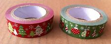 Set of 2 Festive Christmas Sticky Tape Sellotape Present Gift Wrap Xmas Wrapping