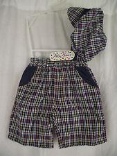 BNWT Boys Sz 0 Jelly Beans Checked Elastic Waist Shorts & Matching Sailors Cap