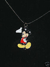 "Mickey Mouse necklace silver chain 1"" charm w/ gems"
