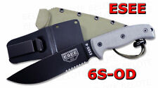 ESEE Model 6 Serrated Edge With Green Molded Sheath 6S-OD