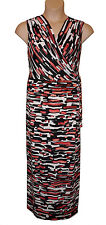 BNWT size 20  TIANA B NEW YORK MAXI CROSSOVER SLEEVELESS  DRESS in CORAL MULTI