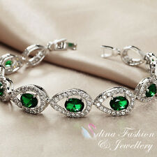 18K White Gold GF Made With Swarovski Crystal Teardrop Emerald Tennis Bracelet