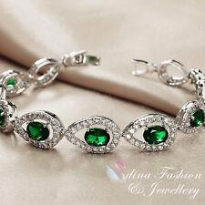 18K White Gold GF Made With Swarovski Crystal Teardrop Emerald Tennis Bracelet