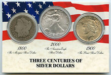 America Silver Dollar Coin Set USA - 1890 Morgan 2003 Eagle 1923 Peace - AK847