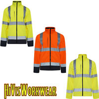 HI VIS VIZ HIGH VISIBILITY SOFT SHELL REFLECTIVE TAPE SECURITY WORK JACKETS COAT