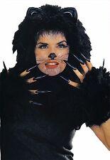 ADULT BLACK KITTY CAT FURRY HOOD RUBBER EARS & CUFFS COSTUME KIT AB69