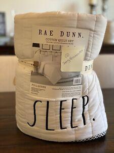 Rae Dunn – SLEEP TIGHT Cotton Quilt Set w/ Shams - Full/Queen - White Black NEW