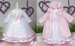 Taufkleid+Stirnband+Mantel Spitze Taufe Babykleid weiss - rosa ❤️Neuheit 2021❤️