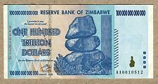 Zimbabwe 100 Trillion Dollar EXTREMELY LOW Serial AA001..VF Money Inflation