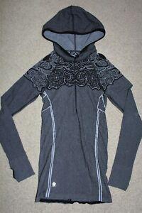 Womens Sz XS X-Small Athleta Twist 1/2 zip Hoodie Knit Pullover Black White