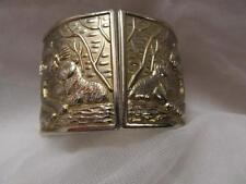 Vintage Unique Jungle Tigers Africa Theme Brassy Gold Hinge Bracelet