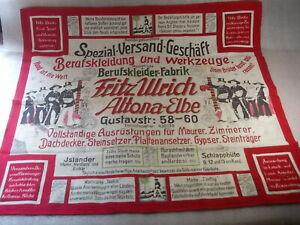 Tuch mit Reklame um 1930 FRITZ ULRICH BERUFSBEKLEIDUNG Hamburg Altona
