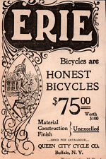 1896 A AD  ERIE BICYCLE QUEEN CITY CYCLE CO NOUVEAU