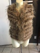 DK Alice And Olivia Raccoon & Rabbit Fur Vest Size Xs Brown Tan