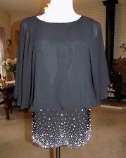 S. Levine Formal Dressy Sheer Black Embellished Top Dolman Pearl Silver Bead S