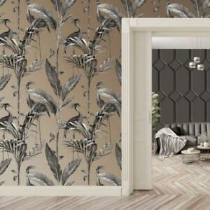 Azzurra Charcoal and Gold Heron on Palm Leaf Wallpaper by Belgravia 9505
