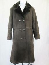 12 M - Vintage 60's Borg Womens Brown Sheepskin Style Coat Shearling - L747