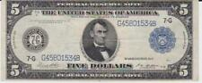 1914 $5 Federal Reserve Note, Blue Seal, F-871B, White Mellon, Large Note