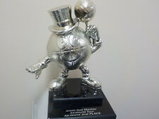 """Metal GUS MACKER Silver FINISH ALL-WORLD 2nd PLACE TROPHY Heavy Basketball 8.25"""""""
