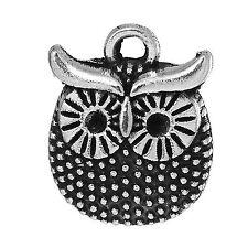 10 x Tibetan Silver Owl Pendant Charms Bird 16mm