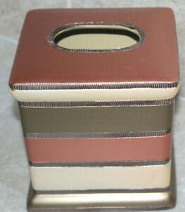 Popular Bath Contempo Stripe Tissue Box Holder ~ EUC