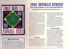 1961 WORLD SERIES PATCH CARD Willabee & Ward NEW YORK YANKEES vs CINCINNATI REDS