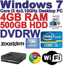 Windows 7 Core i3 4x3.10GHz Desktop PC -4 Go DDR3 - 500 Go HDD-DVDRW Wi-Fi -