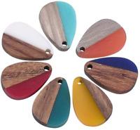 50pc Colorful Resin Wood Drop Pendants Mini Charms DIY Craft Jewelry 21.5x14.5mm