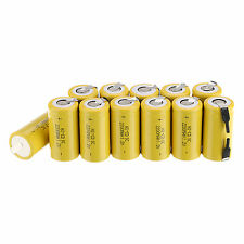 Hot 12pcs Sub C SC 1.2V 2200mAh Ni-Cd NiCd Rechargeable Battery Yellow Batteries