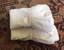 Vintage Laura Ashley Pink Ticking Stripe Full Flat, Fitted Sheet & 2 Pillowcases