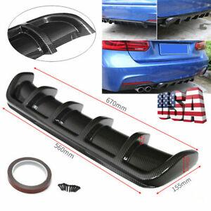 "26""x5"" ABS Carbon Fiber Look Shark Fin 6 Wing Diffuser Rear Bumper Lip Universal"