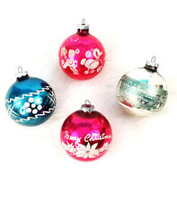 Set of 4 Vintage Jumbo Shiny Brite Stencil Merry Christmas/Toys Glass Ornaments