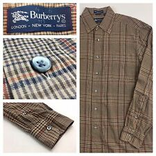 Vintage Burberry Mens Novel Camel Check Casual Button Down Shirt Size Medium M