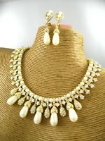 Elegant Pearl Beads Choker Necklace Earring Set Costume Metal Fashion Jewelry