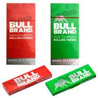 BULL BRAND GREEN, RED REGULAR CIGARETTE ROLLING MEDIUM WEIGHT PAPERS CUT CORNERS