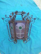 Ancienne Lanterne lampe en fer forgé avec vitraux XIXème