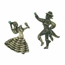 of Dancers Brooch Pins Mexico Silver Turquoise Pair