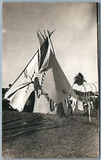 INDIAN CHIEF WIGWAM ANTIQUE REAL PHOTO POSTCARD RPPC