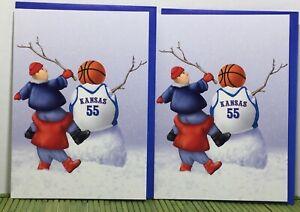 Kansas University Rock Chalk Jayhawk Christmas Card Set of 2 Snowman Wes Rowell