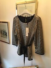 New Darling Celeste Gold Sparkly Sequin & Black Velvet Blouse Party Top,Large